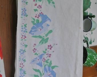 Vintage Dish Towel Blue Morning Glories Vintage Kitchen Towel Wilendur
