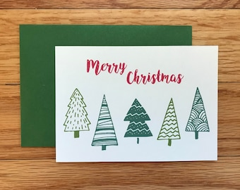 Red Merry Christmas Cards 8-pack