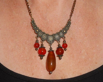 Statement necklace, carnelian crescent necklace, brass rustic necklace, unique necklaces, rustic jewelry, carnelian funky jewelry