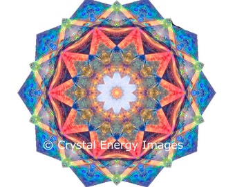 Merkabah Quartz Crystal Photo, Sacred Mandala Wall Art Metaphysical Crystal Alter Shrine, Healing Crystals Sacred Geometry, Wiccan Art Pagen