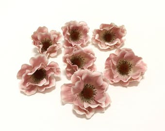 7 Artificial DUSTY PINK Anemones - Artificial Flowers, Flower Crown, Flower Letters, Tutu, Silk Flowers, Hair Accessories, Millinery, Wreath