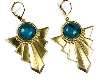 BO Art Deco NABIRYE gilt gold end 24 K Turquoise and support raw brass