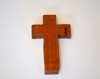 """Wood Wall Cross; Hand Held-4""""x7""""x1""""; Handmade Crooked Cross;Made in Texas; Mesquite Wood; Christian Gift; Free Ground Shipping; cc15-2010417"""