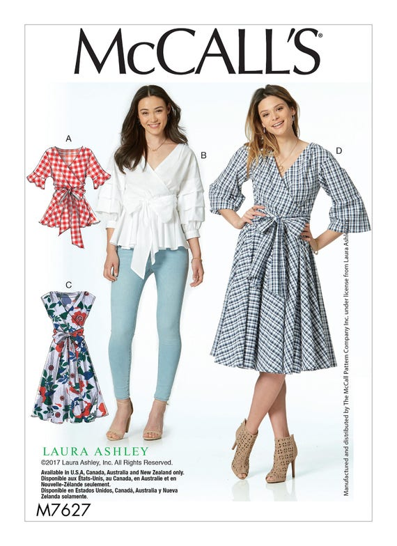 Sewing Pattern for Misses\' Wrap Tops and Dresses with