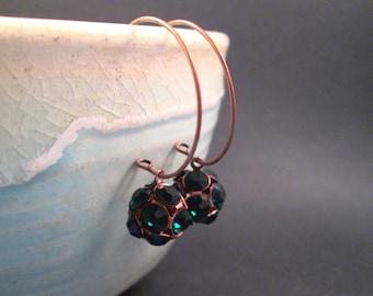 Green Glass Rhinestone Dragonball Earrings, Copper Hoop Earrings, FREE Shipping U.S.