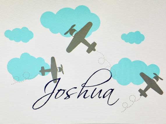 Airplanes Name Wall Decal, Airplanes Flying Decals, Airplanes and Clouds Decal, Clouds Wall Decal, Children's Wall Decals