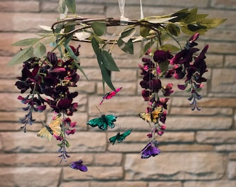 Butterfly mobile,woodland mobile,fairy mobile,Baby girl,Rustic,floral mobile,Flower Mobile,Canopy topper,Crib Mobile,Fairy Lights optional