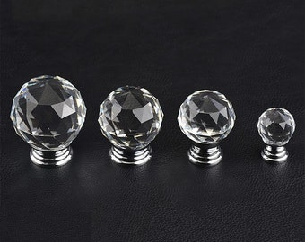 Glass Knobs / Clear Crystal Knob / Drawer Knobs / Dresser Pulls Handles / Cabinet Knob Sparkly Furniture Decorative Knobs Hardware Silver