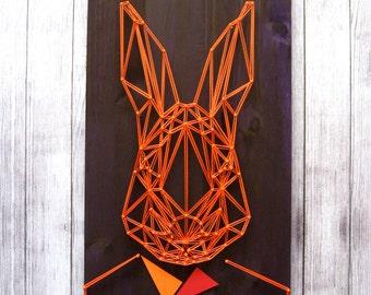 Barder Shop Decor Bunny Rabbit String Art Wooden Wall Decor Geometric Wall Art Orange Rabbit Barbers Wall Art String Art Bunny Rabbit