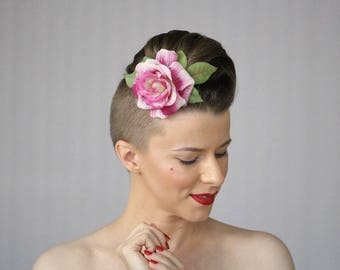"Pink Rose Clip for Women, 1930s Hair Flower, Vintage Rose Fascinator, 1940s Floral Headpiece - ""Knock Me a Kiss"""