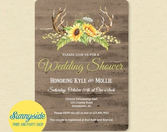 Rustic Antlers Shower Invitation // Couples Wedding Bridal Shower Invitation // Sunflower Barnwood Deer