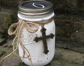 Scripture Jar, White with Cross and Choice of Chalkboard and Monnogram Lid - Contains 50 Encouraging Bible Verses