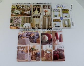 Butterick McCalls Home Decor Patterns Slip Covers Pillows Drapes Table Runners Plus More