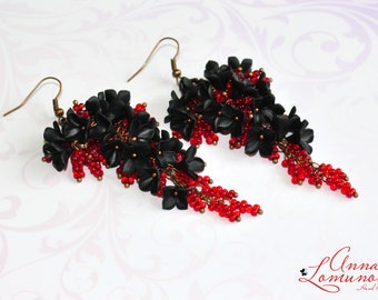 Black Dangle Earrings Black red earring Black Long earrings Black floral earring Polymer clay Earring Red Black Jewelry Black Flower earring