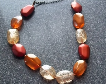 Funky Chunky 1980s Big-Bead Necklace in Rust and Cream