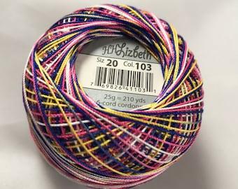 FULL SPOOL - Lizbeth Tatting Thread - Size 20 - Tutti-Frutti - Color #103 - Made by Handy Hands - 210 Yards