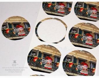 French Quarter Merry Christmas Dawlin Stickers