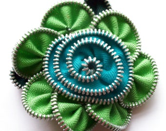 Lime Green and Turquoise Floral Brooch / Zipper Pin by ZipPinning 3037