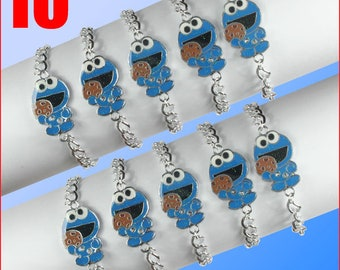 10PCS Sesame Street Cookie Monster Enamel Metal Charms Pendants Necklaces boys girls birthday party gifts party favors FREE SHIPPING