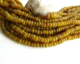 Yellow glass beads, lampwork beads , rondelle glass beads , dark mustard disc washer Spacer, Indonesian  / 10 inches strand  6Ak2-1