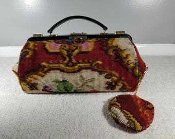 Vintage Koret Needlepoint Tapestry Carpet Bag Doctor Bag OverNight Bag Luggage Tote