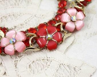 Red and Pink MultiStrand Assemblage Bracelet, 1950s Red and Pink Floral Bracelet, Red Rhinestone Crystal Link Bracelet, Boho Bracelet