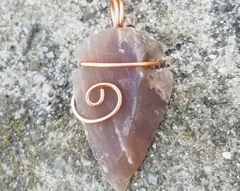 Copper Wire Wrapped Arrowhead