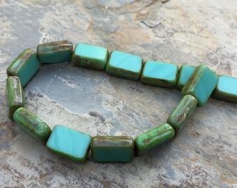 Turquoise Czech Glass Beads, Rectangle Beads, Aqua rectangle Beads, 11 x 8 mm, 7 inch strand (15 beads)