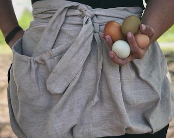 100% Linen Garden apron, Zipper Pocket, Gathering apron, Children apron, Harvest apron, Basket apron, Egg Gathering, Sustainability, Linen