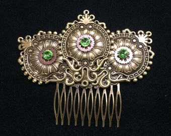 Captivating Bronze Hair Comb with Gears and Green Crystal Accent, Art Nouveau, Victorian, Steampunk, Gothic, Sci-Fi, and Fantasy