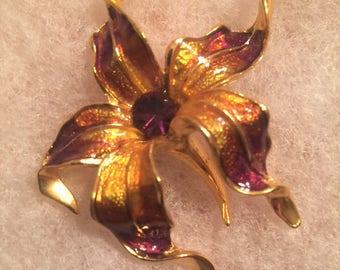 Stunning Vintage Enameled and Rhinestone Lily Brooch, Purple and Amber, Gold Tone Base, Purple Rhinestone Center