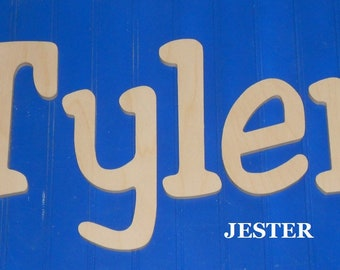 """Wooden Wall Letters - 8"""" Size - Unpainted - Jester plus Various other Fonts - Gifts and Decor for Nursery - Home - Playrooms - Dorms"""