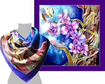 Silk Scarf square, Silk Scarf, Large Silk Scarf, Silk Scarves, Women silk scarves, Blue Silk Scarf, Orchids Scarf, Designer scarf, Scarf