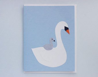 Swan ride - new baby - papercut collage card