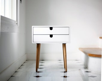 Nightstand / Bedside Table White, Style Mid Century Modern Retro  Scandinavian 2 Drawers