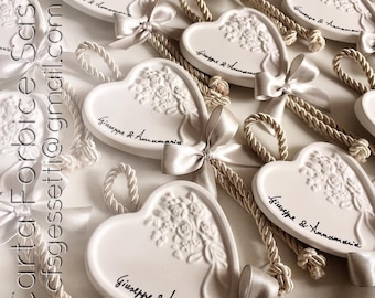 Heart wedding placeholder with fragrant chalk names