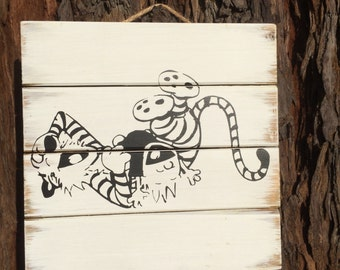 "10""x10"" Wood Canvas Calvin and Hobbes Laughing: Made to Order. Customizable"