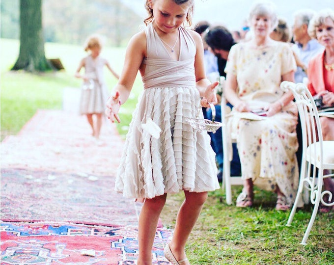 Childs,Girls~Ruffle Convertible Wrap Dress-Short Circle Skirt-Custom  Choose your fabrics- Holiday Dress, Flower Girl, Junior Bridesmaids,