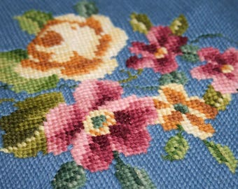 Vintage Blue Wool Needlepoint Floral Panel for Pillow or Art