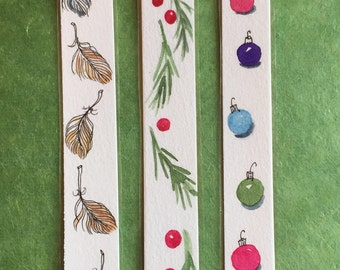Set of Three Original, laminated, Skinny, Watercolor Bookmarks