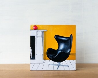 Egg Chair Art Block, SALE, midcentury wall decor, classic chair, Arne Jacobsen chair, vintage chair art, Egg chair wall art