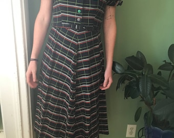 Early 1950's Plaid Day Dress Size Small