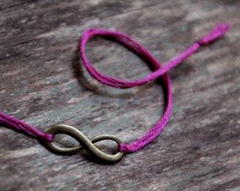 infinity jewelry friendship bracelet wish bracelet infinity bracelet magenta wishlet long distance best friends valentine gift for her