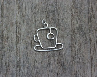 Just my cup of tea sterling silver pendant