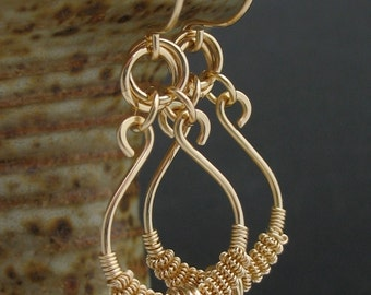 Solid 14k Gold Wire Wrapped Earrings, Real Gold Earrings, Real Gold Wire Wrapped Jewelry, 14k Gold Earrings, 14k Gold Wire Jewelry
