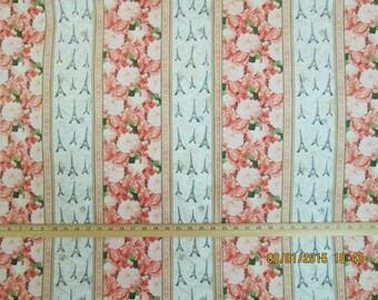 Paris Border Stripe Floral C3562 Cotton Fabric #47