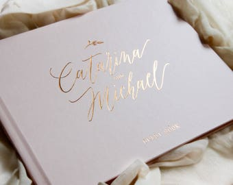 Wedding Guest Book Rose Gold Foil, Wedding Guestbook, Custom Guest Book, Personalized Guest Book, rose gold Wedding Guest Book, Photo Book
