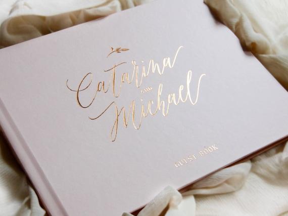 Diy Wedding Guest Book Cover : Wedding guest book rose gold foil guestbook custom