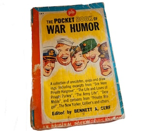 The Pocket Book of War Humor - Pocket Book 197, Bennett  A. Cerf, Private Breger cartoons, GI Joe, military gift, Army life, Dere Mable