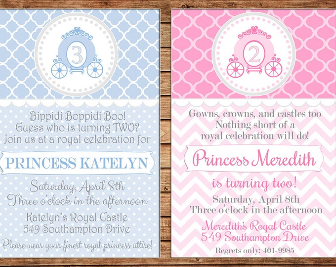 Girl Invitation Princess Pumpkin Carriage Birthday Party - Can personalize colors /wording - Printable File or Printed Cards